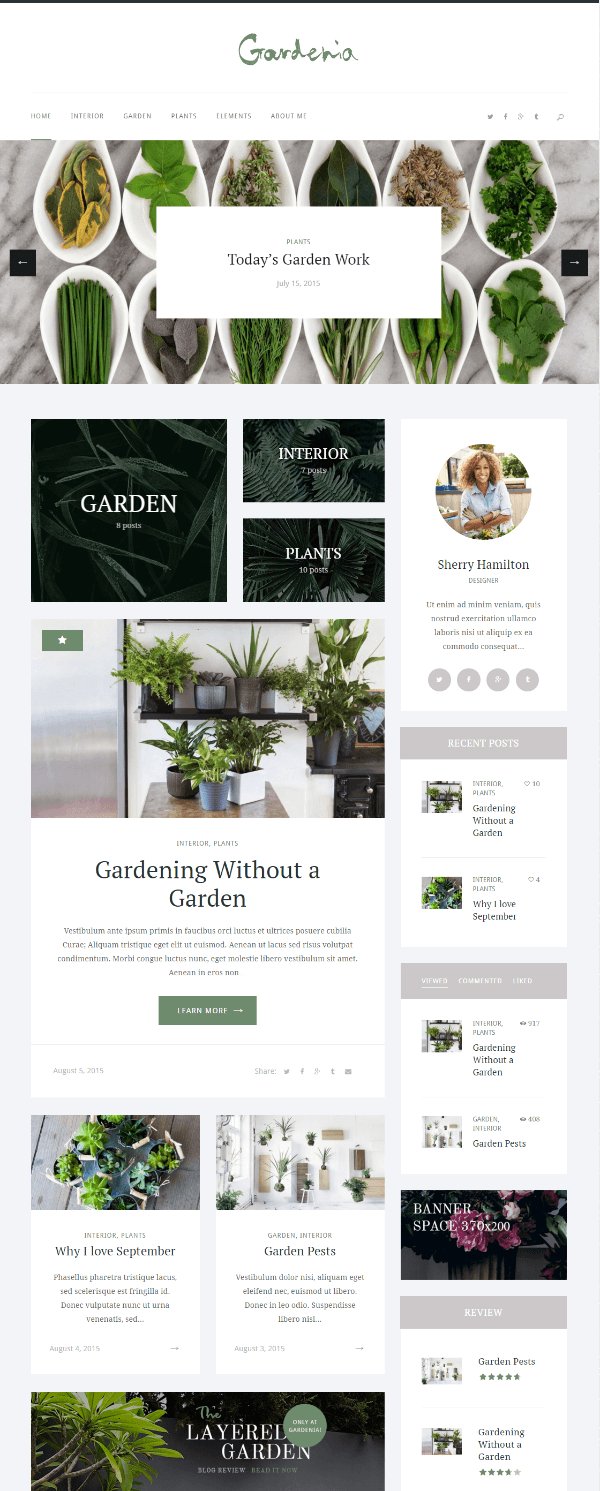 Boxed layout Homepage of Gardenia theme.
