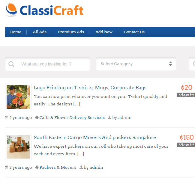 ClassiCraft - Classified listing WordPress theme