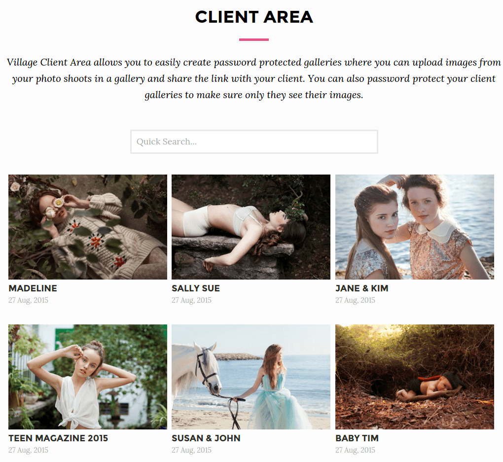 Clients Area Page - Aster