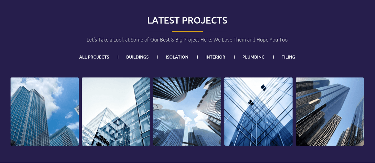 Constructent Latest Projects Section