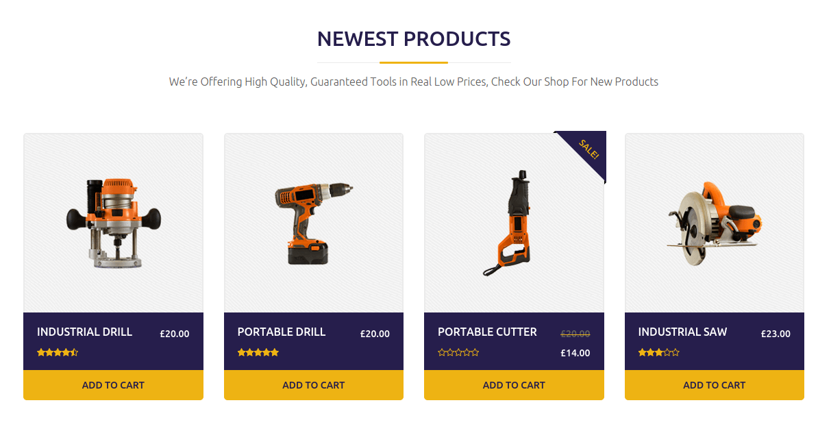 Constructent Newest Products Section