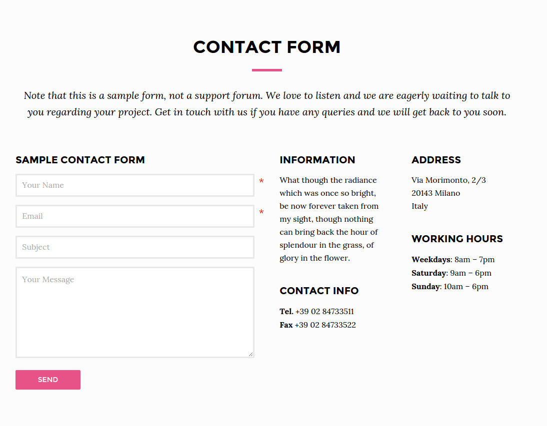 Contact Page - Aster