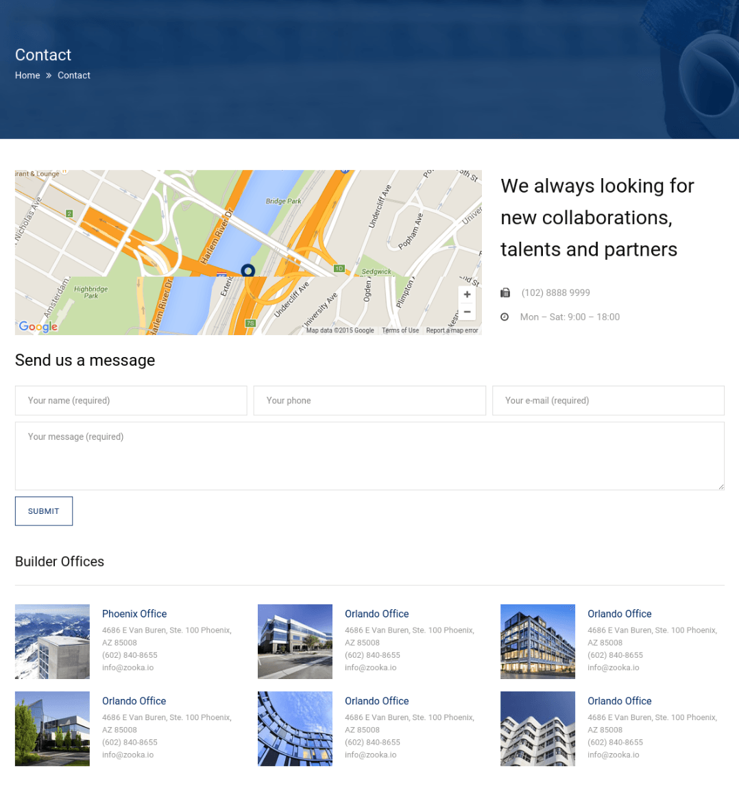 Contact Page - Builder