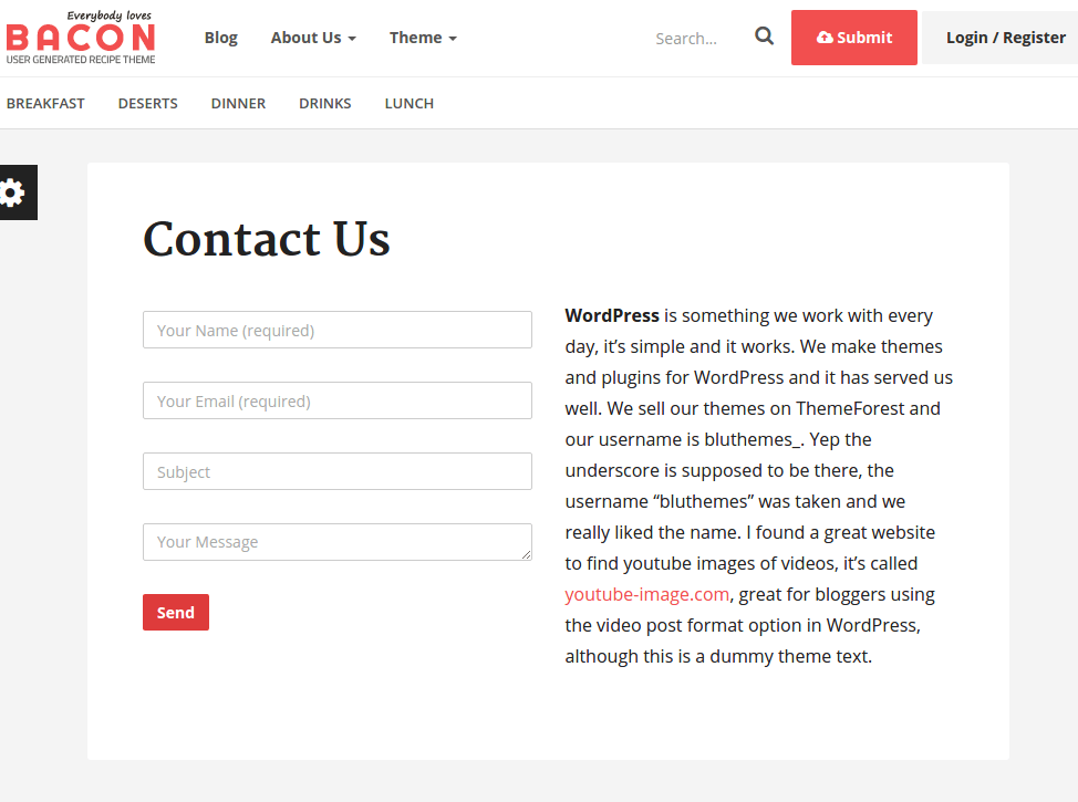 Contact Page of Bacon