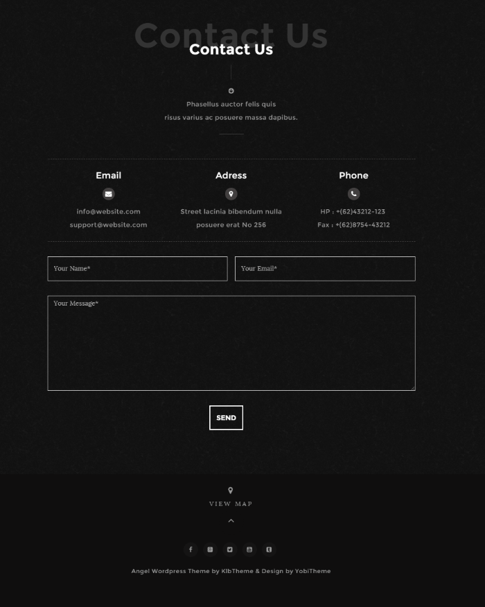 Contact page of Angel theme