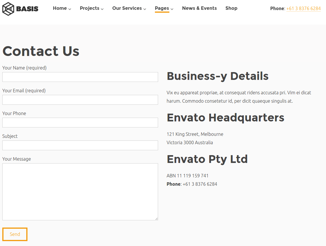 Contact page of Basis