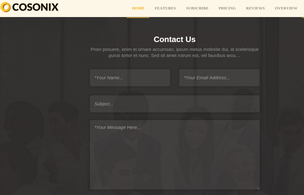 Contact page of Cosonix