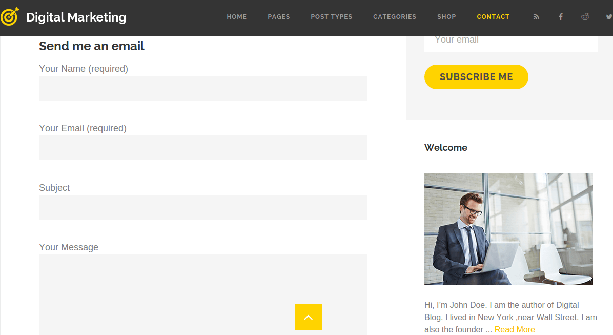 Contact page of Digital marketing