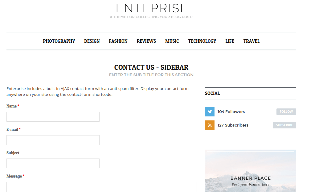 Contact page of Enterprise