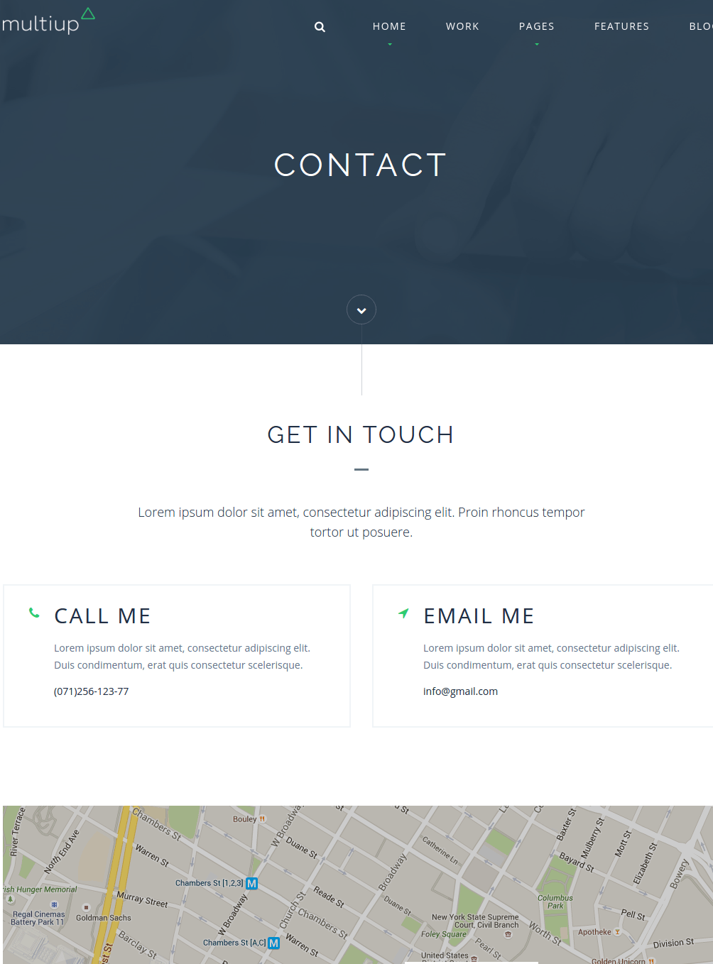 Contact page of Multiup
