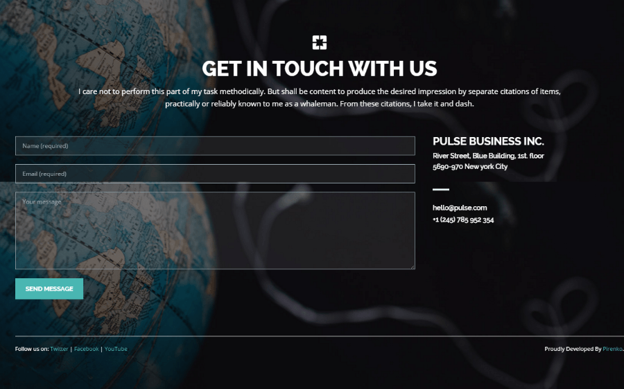 Contact page of Pulse theme