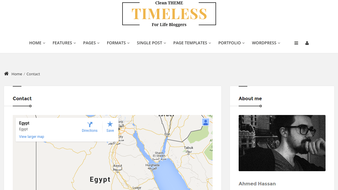 Contact page of Timeless
