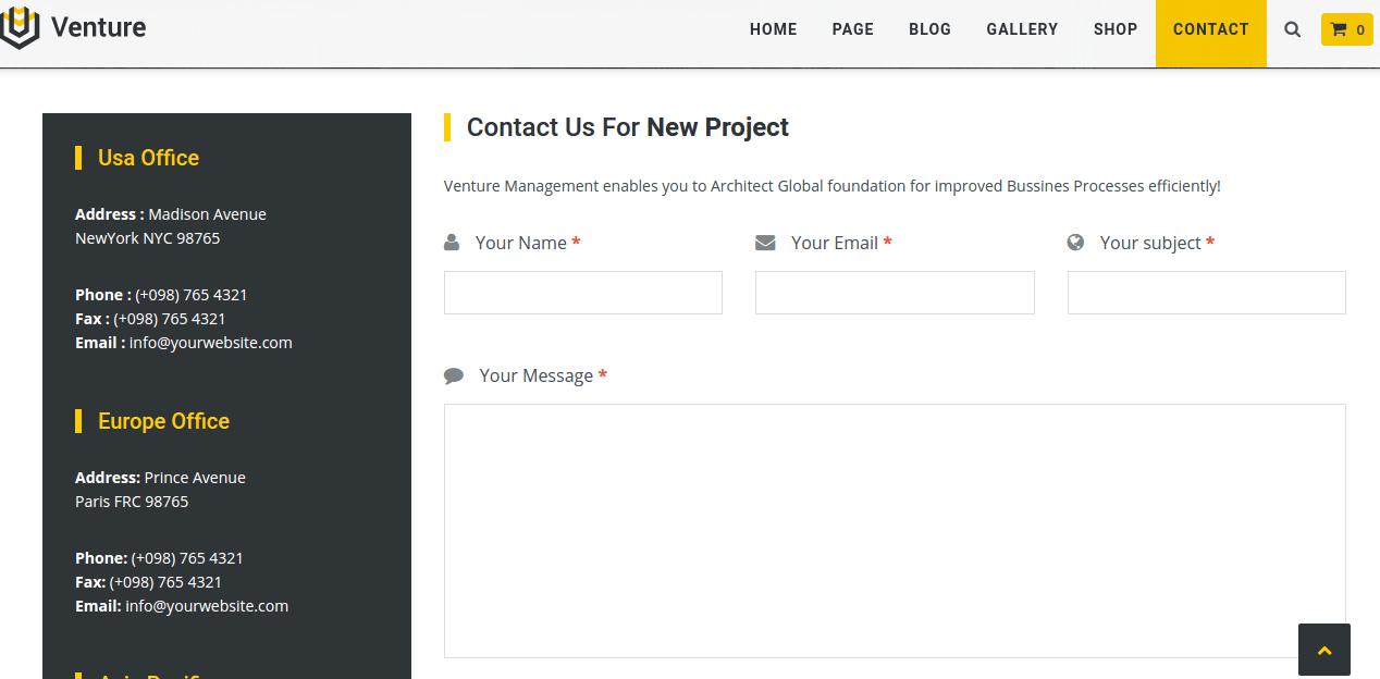 Contact page of Venture