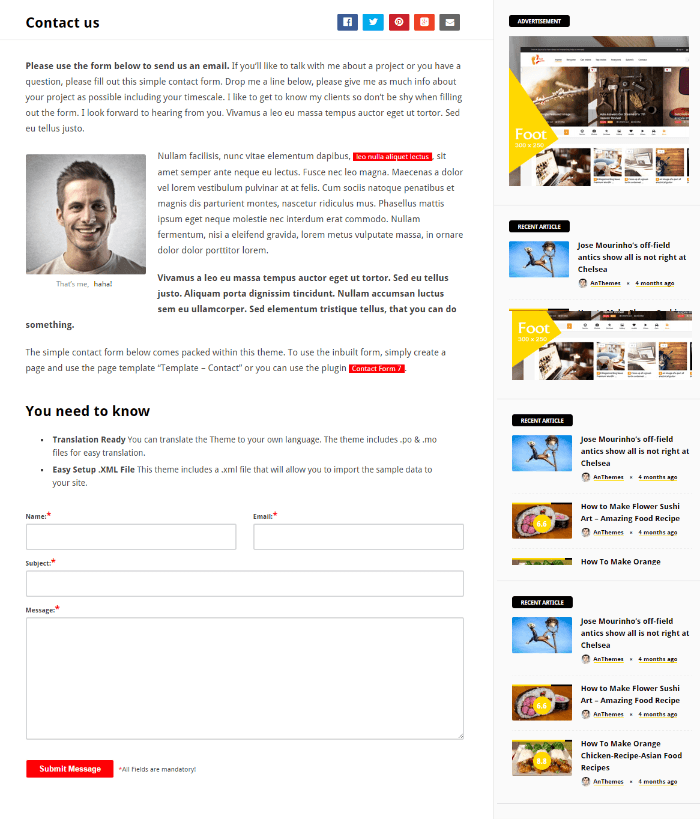 Contact page of Videonews theme