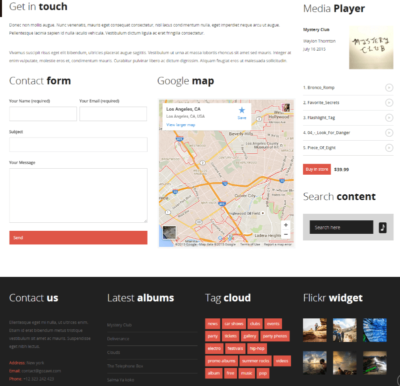Contact us page of MUSIC FLOW theme