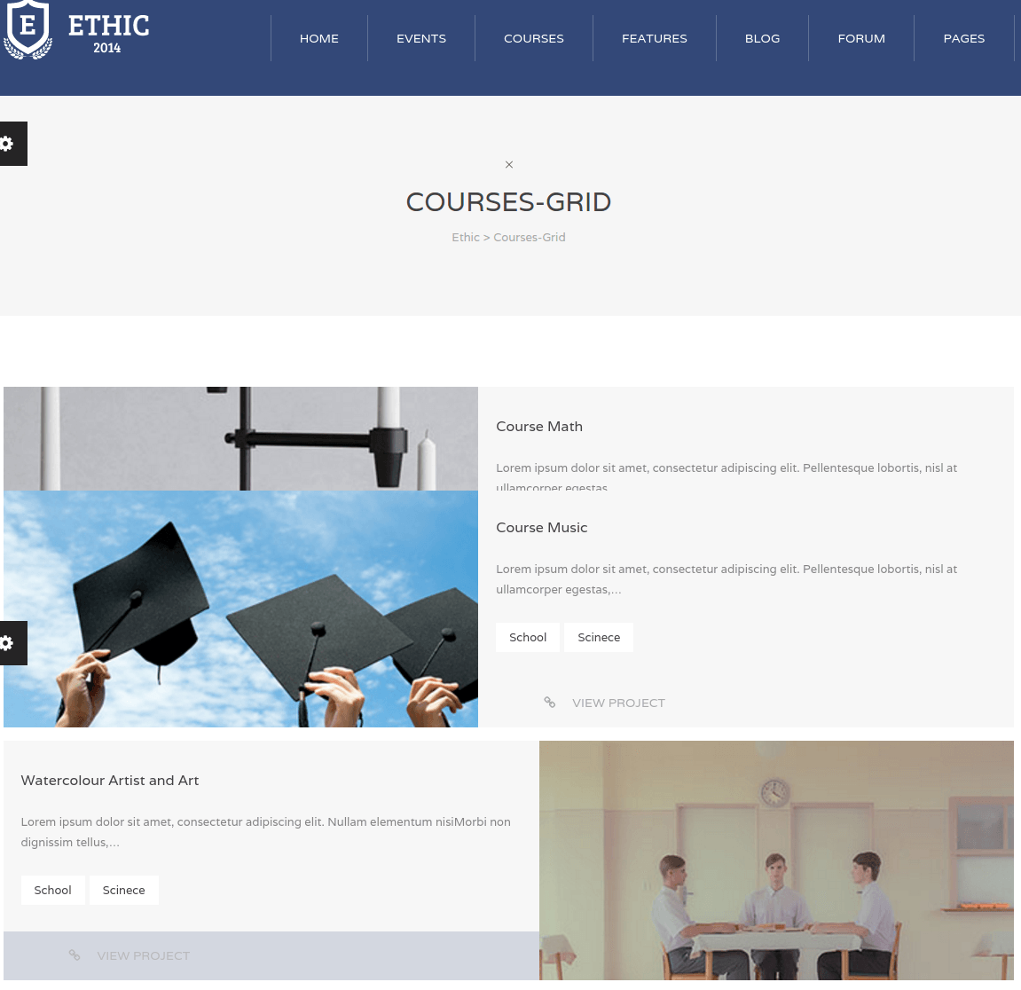 Cources Page of Ethic theme
