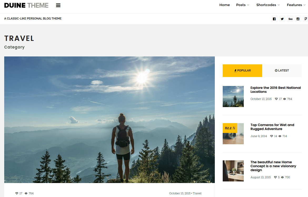 Duine Travel Category Page
