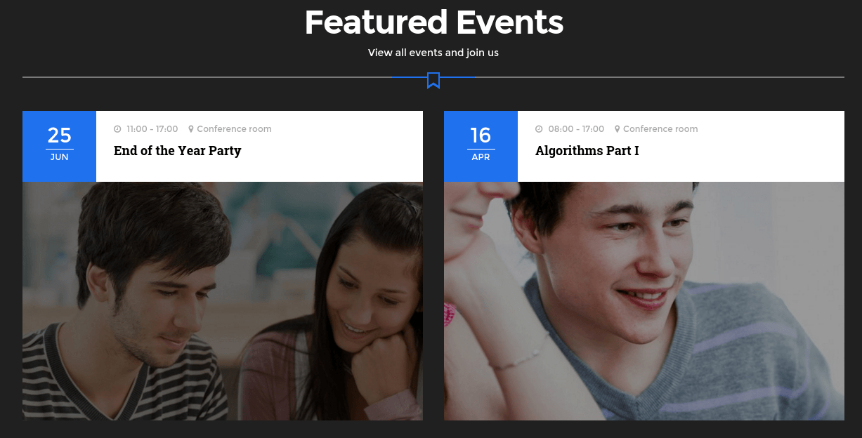 Edubase Featured Events Section