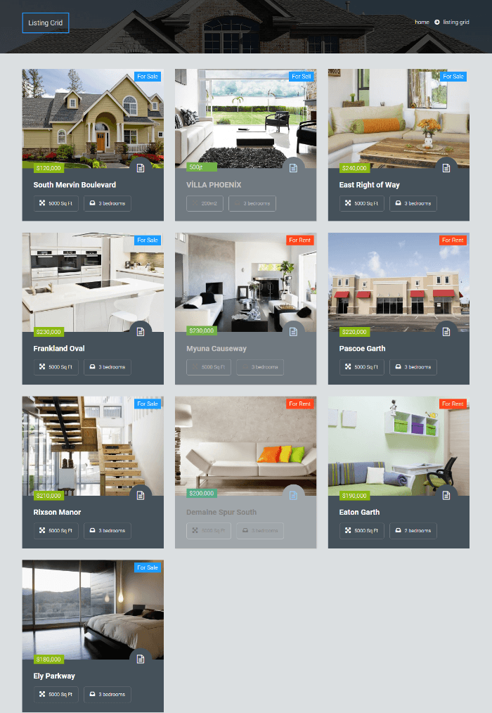 Estate Pro - Property listing in grid layout