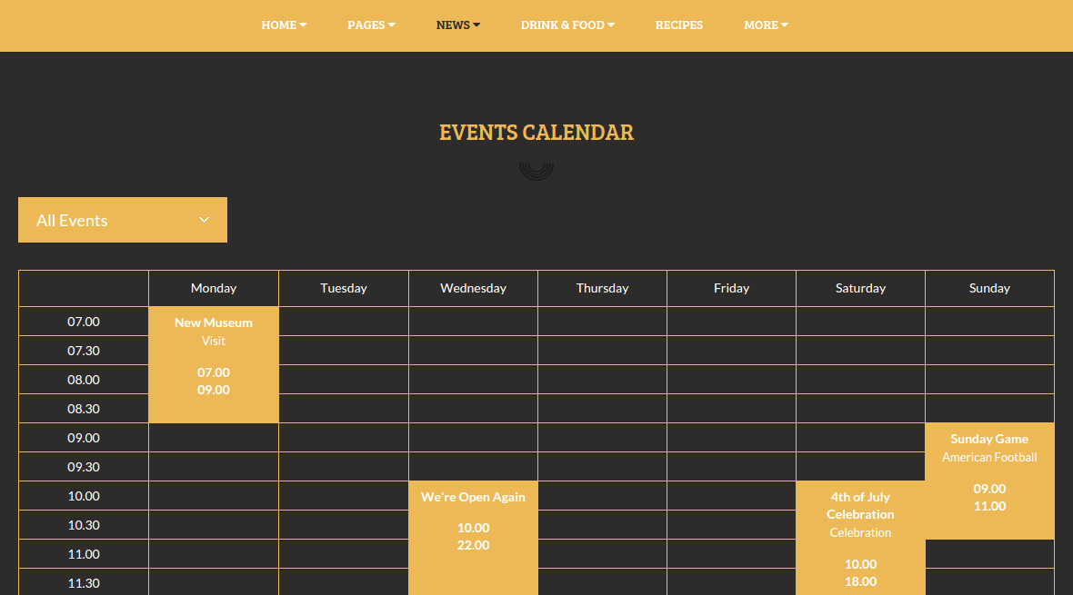 Event calendar page of moonshiners