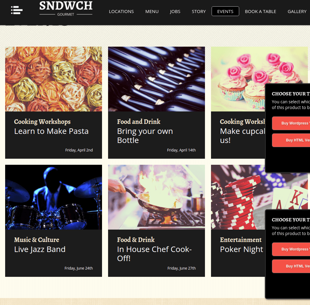 Event page of SNDWCH