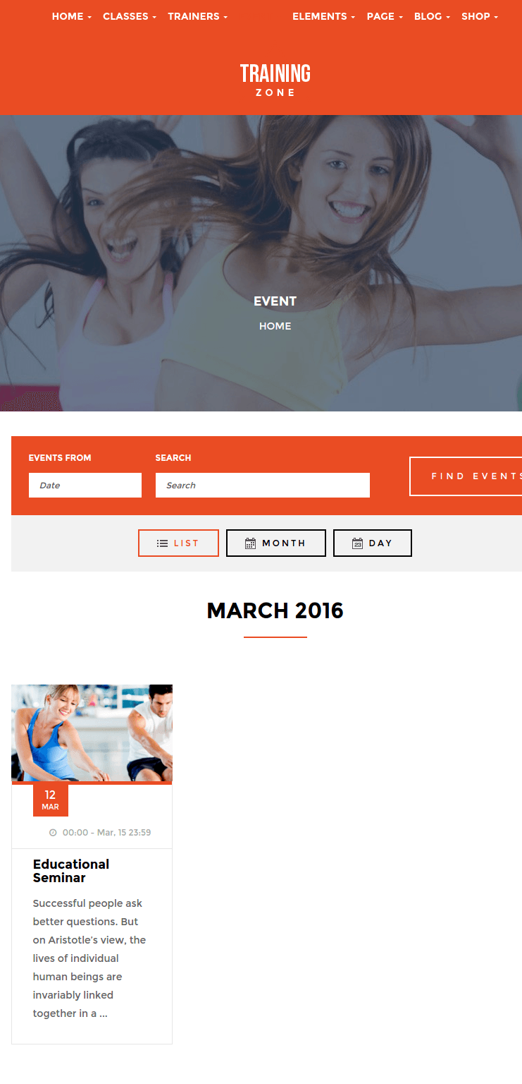Eventlist page of training zone