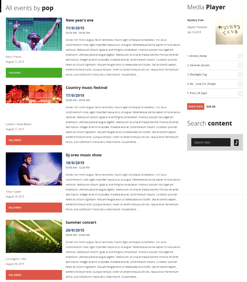 Events page of MUSIC FLOW theme