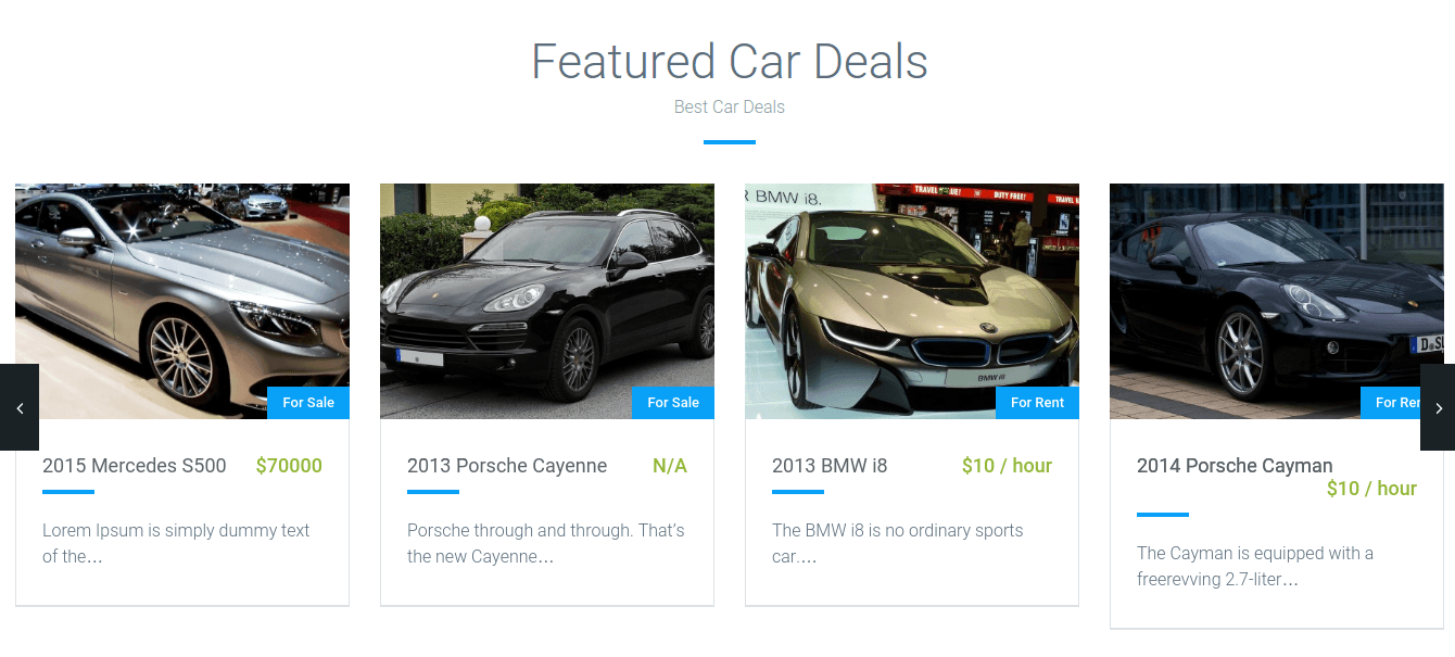 Featured Car Section of Automan