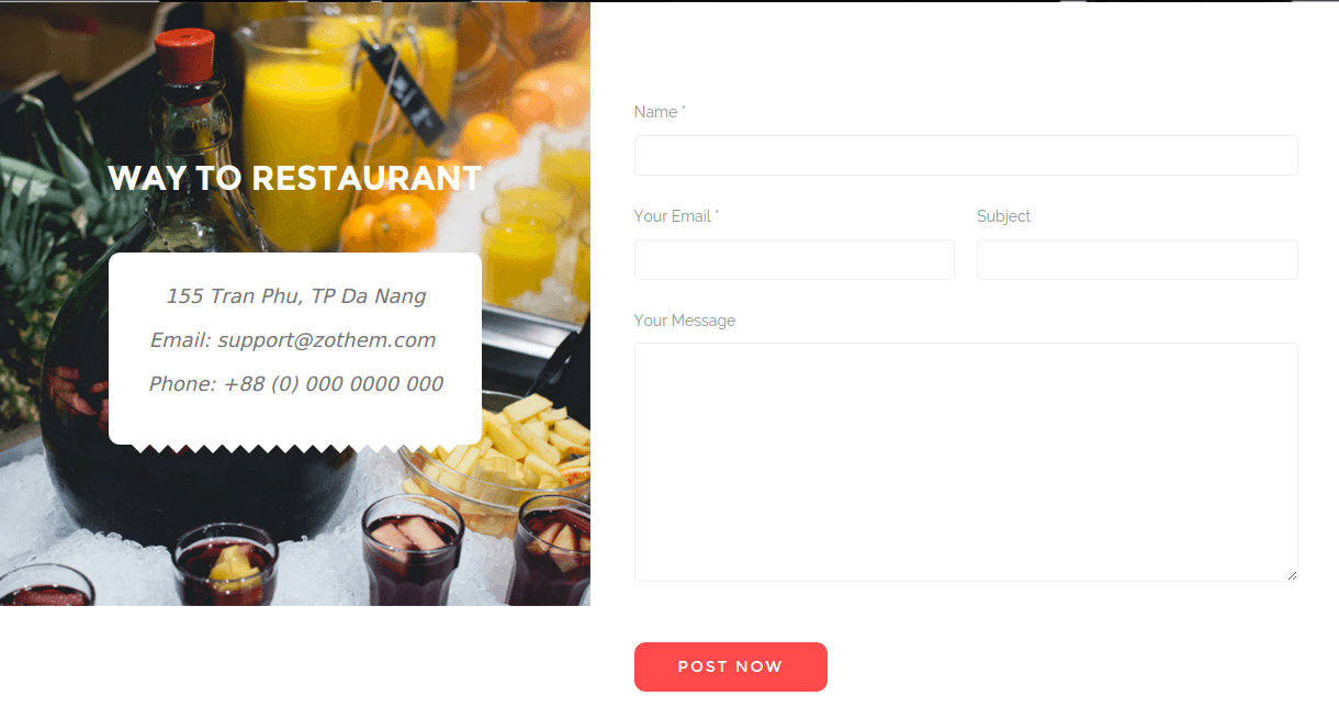 Foodz Contact Page