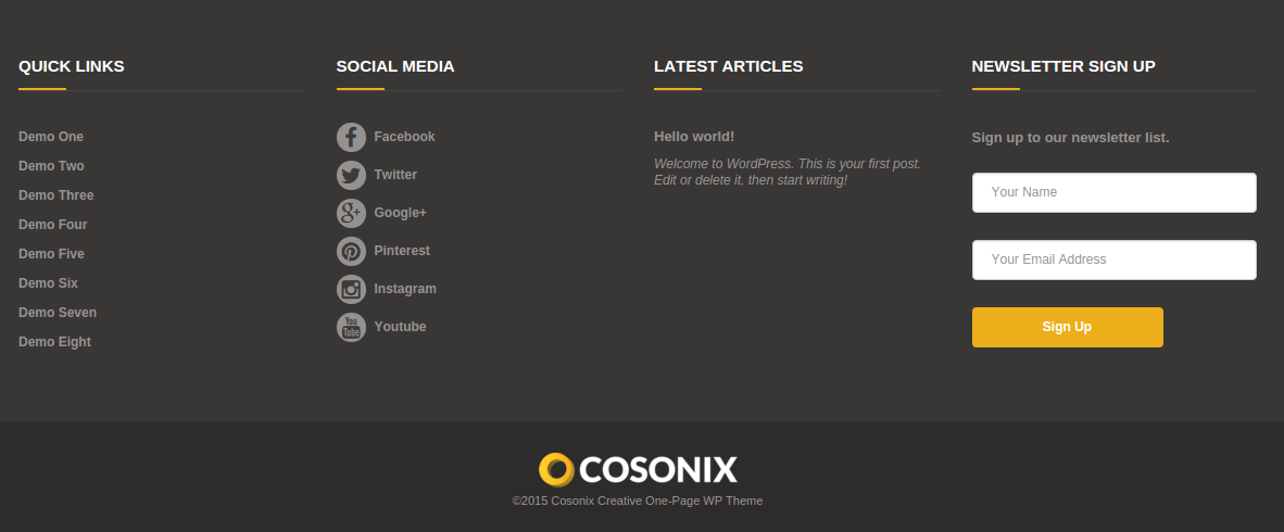 Footer area of Cosonix