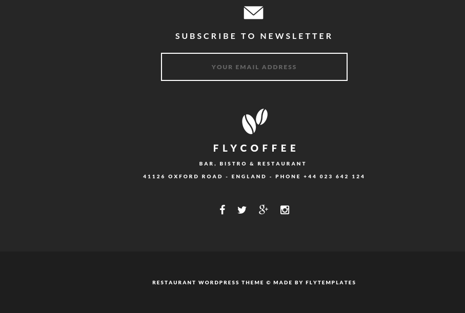 Footer of FlyCoffee