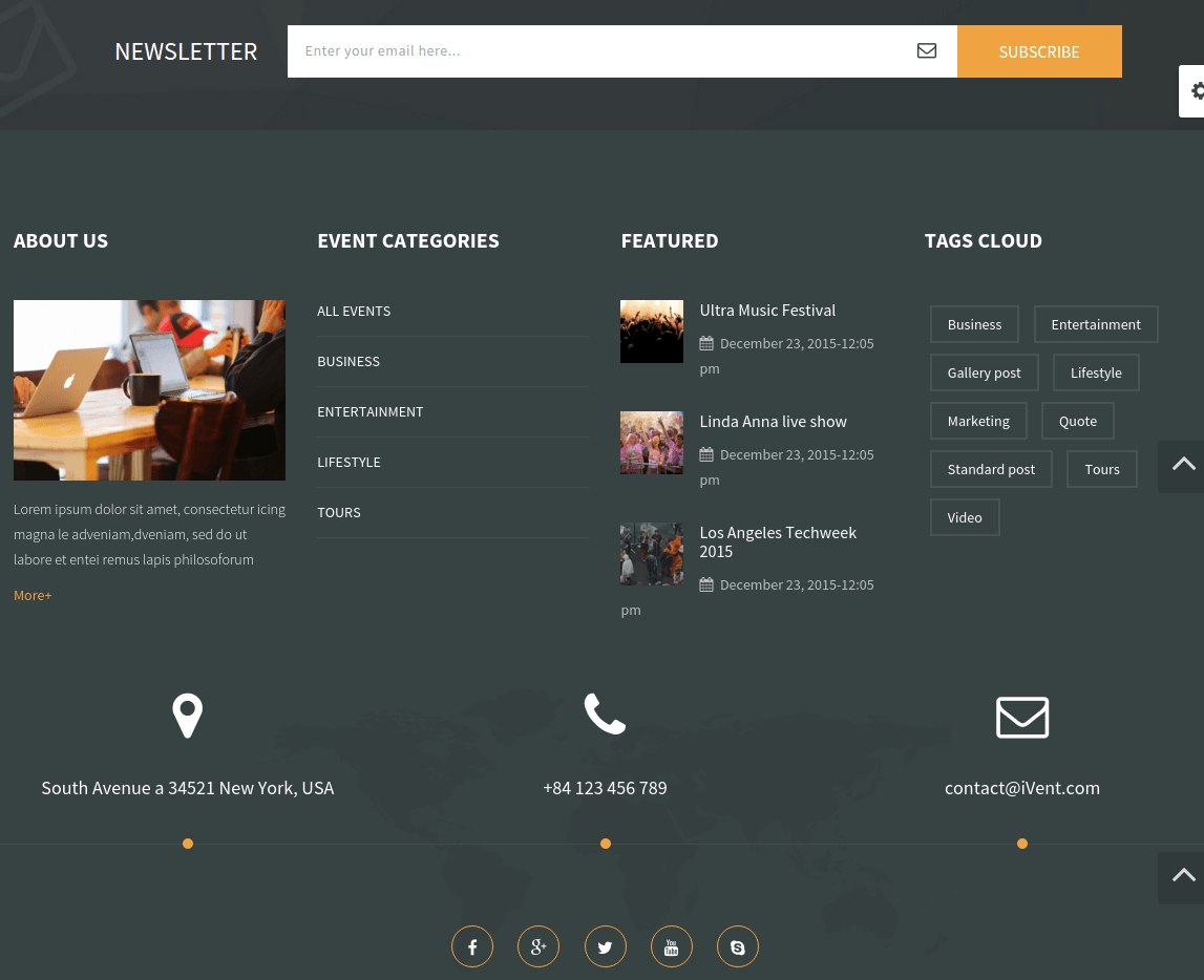 Footer of Ivent