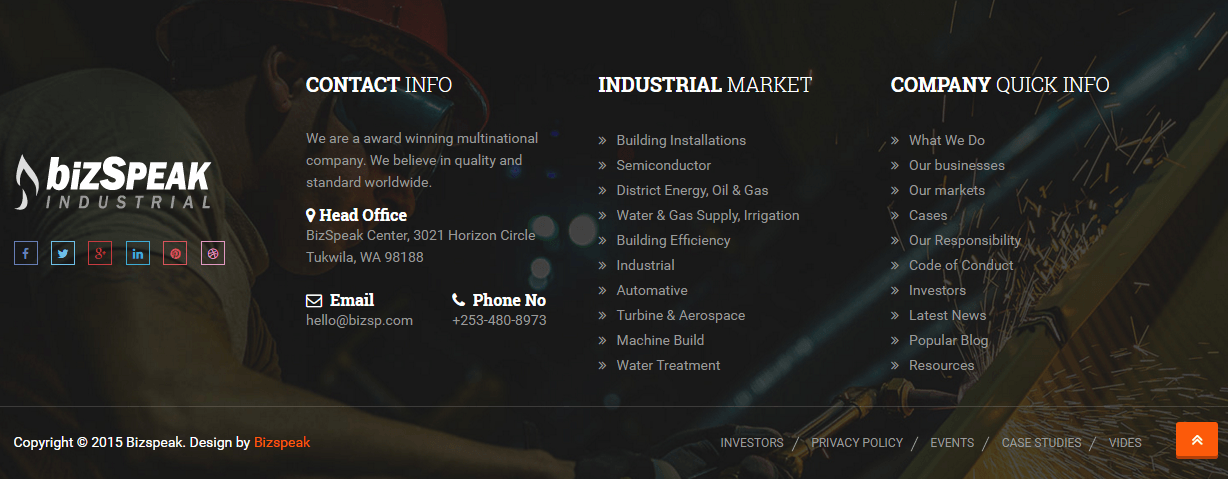 Footer section of Bizspeak theme