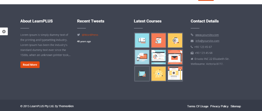 Footer section of LearnPlus theme