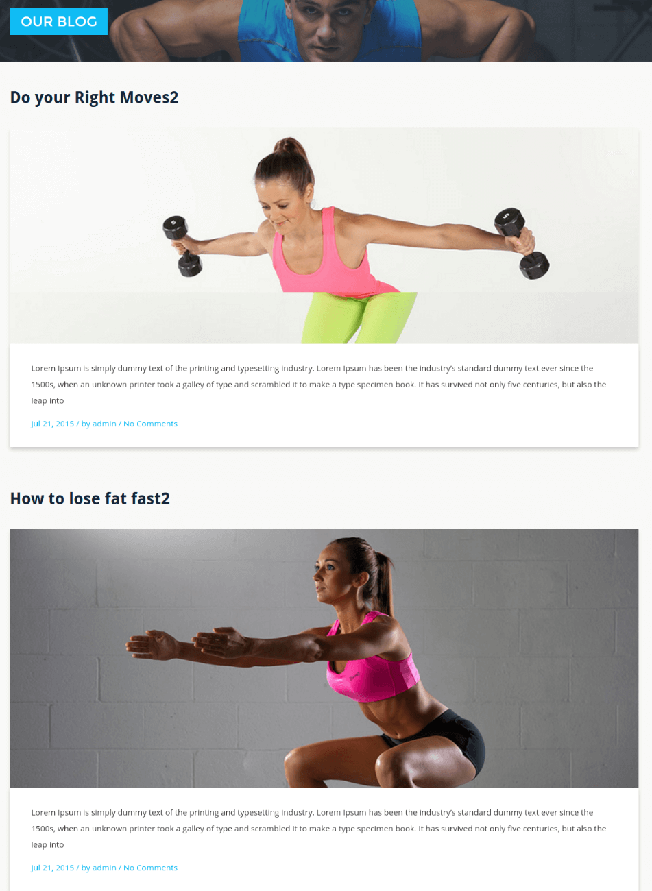 Full width Page - Stayfit