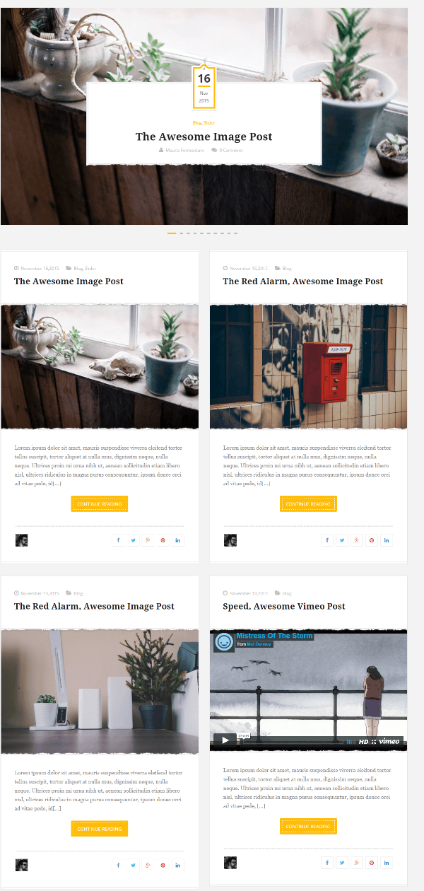 Full width grid homepage layout of Wellow theme