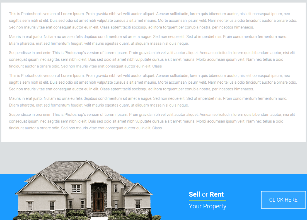 Full width page of Estate Pro theme