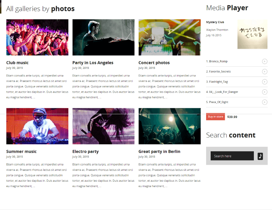Gallery of MUSIC FLOW theme