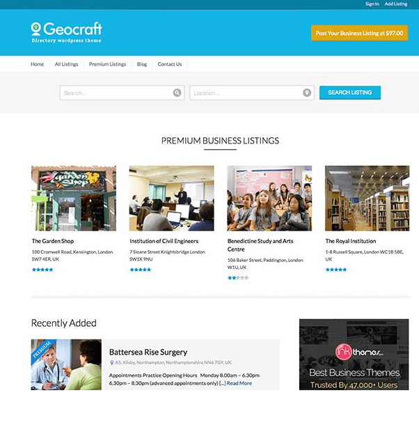 GeoCraft - City Business Directory WordPress theme