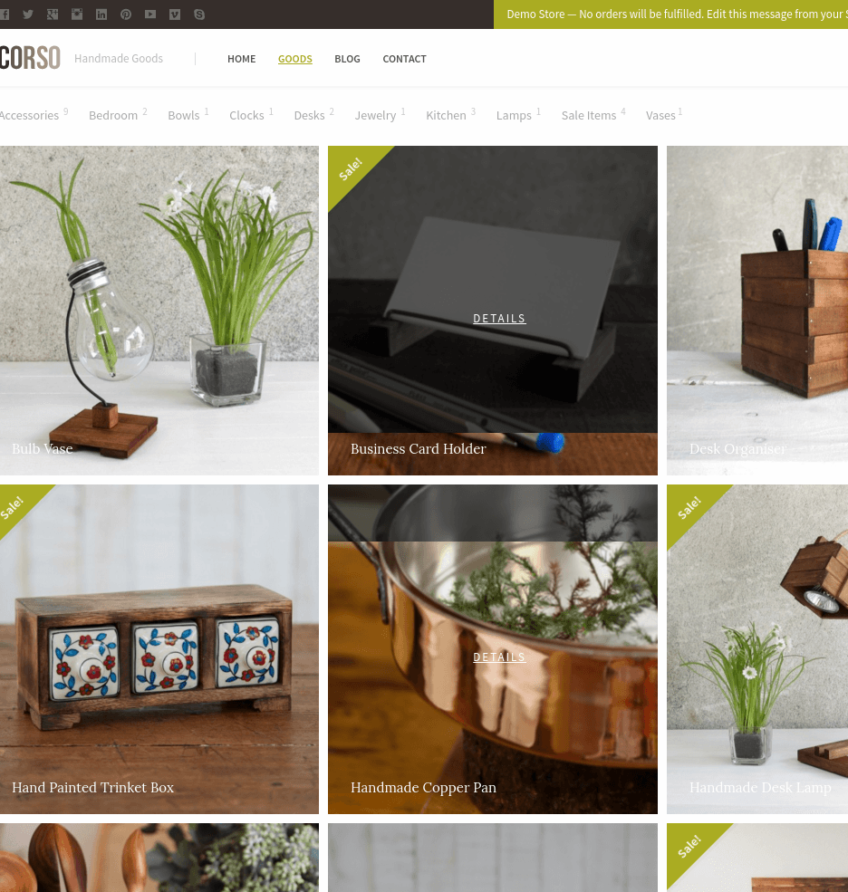 Goods page of Corso