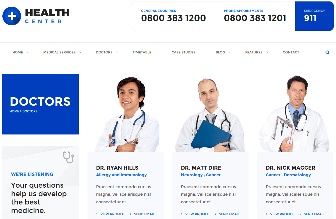 Health Center Doctors Page