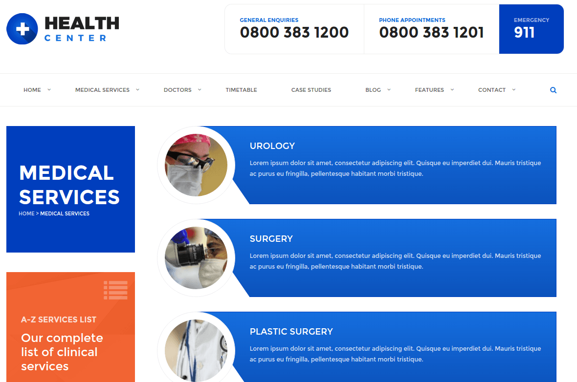 Health Center Medical Services Page