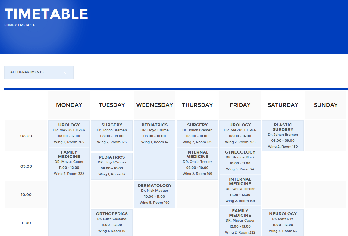 Health Center Timetable Page