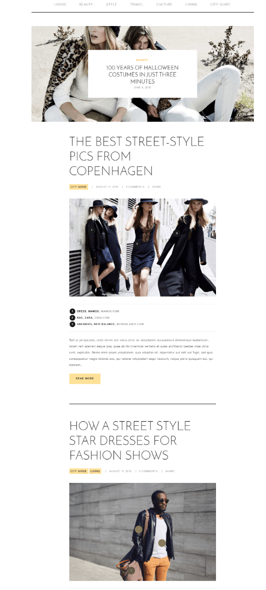 Home page layout of Street style theme