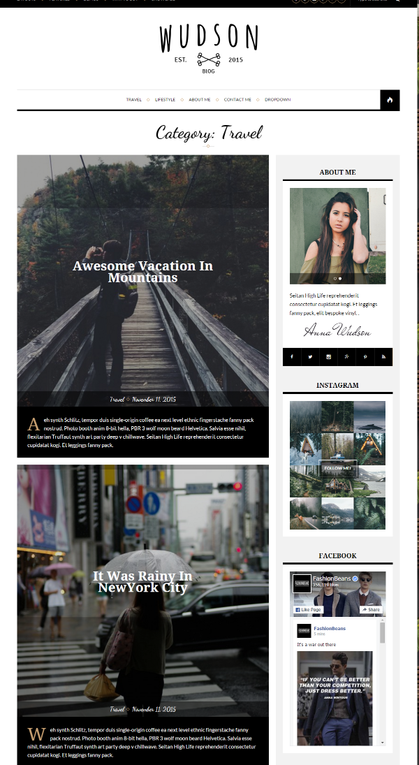 Homepage (category - Travel ) of Wudson theme