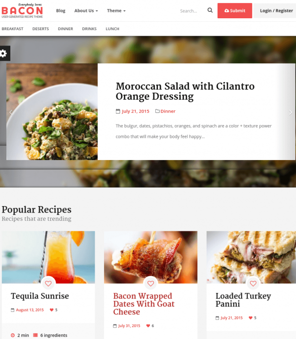 Homepage of Bacon