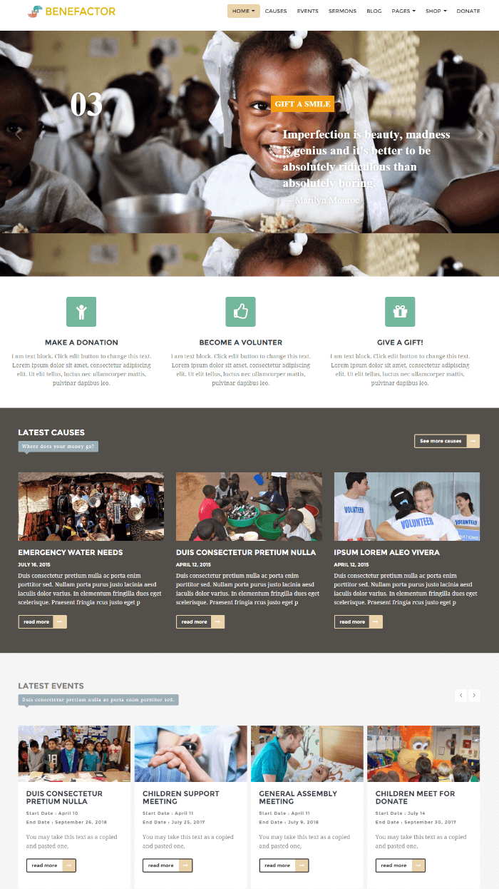Homepage of Benefactor theme