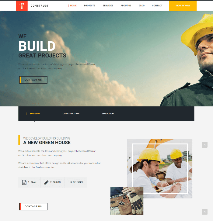 Homepage of Construct theme
