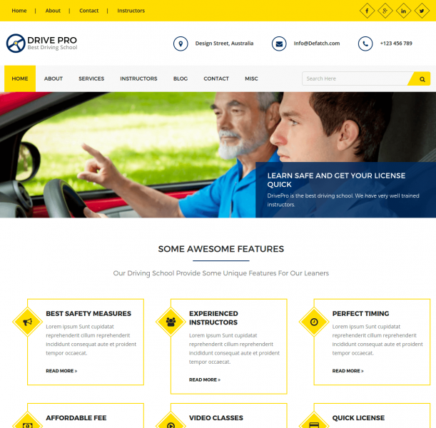 Homepage of DrivePro