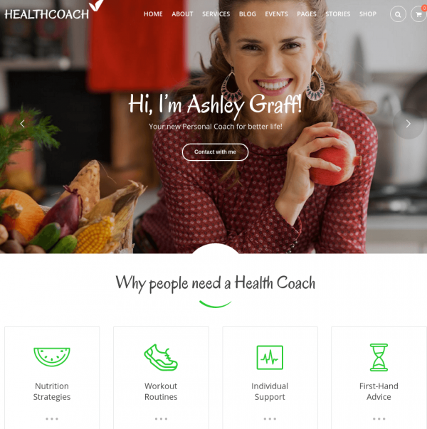 Homepage of HealthCoach
